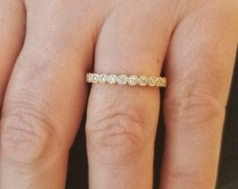 14K Gold Diamond Eternity Wedding Band /  Diamond Eternity Wedding Ring / Womens Diamond Wedding Ring / Diamond Wedding Band