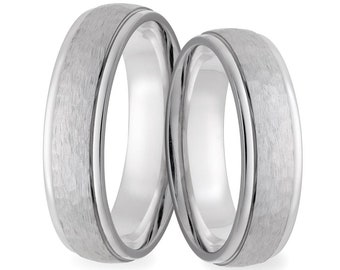 His & Hers Wedding Bands, Matching Wedding Rings Set, 5mm 10K 14K 18K Solid White Gold Hammered Finish Wedding Bands