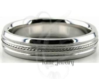 Mens Platinum Wedding Band , Platinum Wedding Ring , 5mm Milgrain Platinum Mens Wedding Rings , 950 Platinum Band