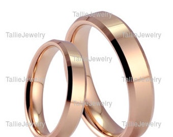 His & Hers Wedding Rings, Matching Wedding Bands,Beveled Edge Satin Finish Mens Womens Gold Wedding Rings, 14K Solid Rose Gold Wedding Bands