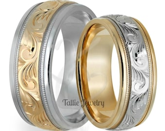 Hand Engraved Wedding Rings for mens & Womens , Hand Engraved Wedding Bands, His and Hers Wedding Rings, 14K Two Tone Gold Wedding Bands,