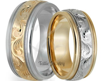 Hand Engraved His & Hers Wedding Rings,  Matching Wedding Bands Set,  10K 14K 18K White and Yellow Gold Hand Engraved Wedding Rings