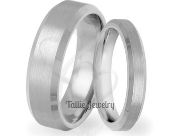 Platinum Matching Wedding Rings,His & Hers Wedding Bands,Satin Finish Beveled Edge Mens Womens Platinum Wedding Rings,Platinum Wedding Bands