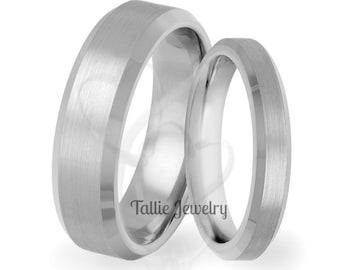 His & Hers Wedding Rings, Matching Wedding Bands , 10K 14K 18K Solid White Gold Beveled Edge Satin Finish Mens Womens Wedding Bands