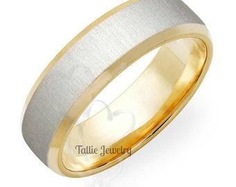 950 Platinum Wedding Band ,  Platinum Mens Wedding Rings , Platinum & 18K Solid Yellow GoldBrushed Finish Beveled Edge  Mens Wedding Bands