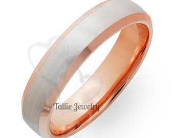 Two Tone Gold Wedding Bands, 5mm 14K Solid White and Rose Gold Mens Wedding Rings, Two Tone Gold Mens Wedding Bands, Mens Wedding Rings