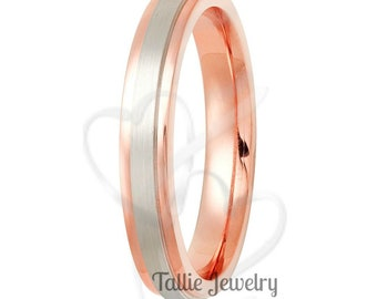 Two Tone Wedding Bands, 5mm 10K 14K 18K Solid White and Rose Gold Satin Finish Mens Womens Wedding Rings, Two Tone Gold Wedding Bands