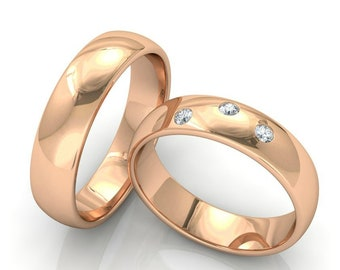 14K Solid Rose Gold Wedding Bands, Matching Wedding Rings Set, His & Hers Wedding Bands, Mens Womens Wedding Rings, Gold Wedding Bands