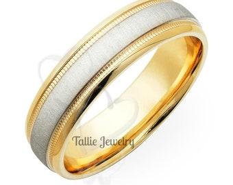 950 Platinum Band ,  Platinum Mens Wedding Ring , Two Tone Gold Wedding Bands, Platinum & 18K Solid Yellow Gold Mens Wedding Bands