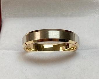 18K Solid Yellow Gold and Platinum Wedding Band, Platinum Wedding Ring, Satin Finish Beveled Edge Mens Wedding Bands, 950 Platinum Band