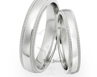 Platinum Matching Wedding Bands, Platinum His & Hers Wedding Rings, Mens and Womens Platinum Wedding Bands, Platinum Wedding Rings Set