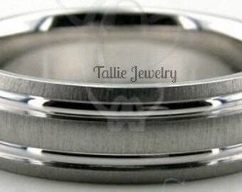 14K Solid White Gold Mens Wedding Bands, Brushed Finish Mens Wedding Rings