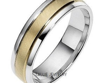 Two Tone Gold Wedding Bands, 6mm 14K White and Yellow Gold Mens Wedding Rings, Brushed Finish Mens Wedding Bands, His & Hers Wedding Rings