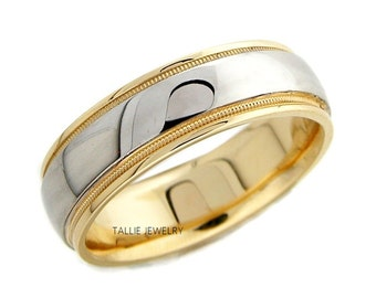 Platinum Wedding Bands, Platinum Wedding Rings, Platinum & 18K Yellow Gold Mens Wedding Bands, Platinum Mens Wedding Rings