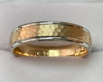 Two Tone Gold Wedding Bands, Hammered Finish Mens Wedding Rings, 5mm 10K 14K 18K White and Yellow Gold Mens Wedding Bands