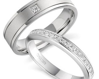 Platinum His & Hers Wedding Bands, Matching Wedding Rings, Platinum Diamond Eternity Wedding Bands, Platinum Diamond Wedding Rings