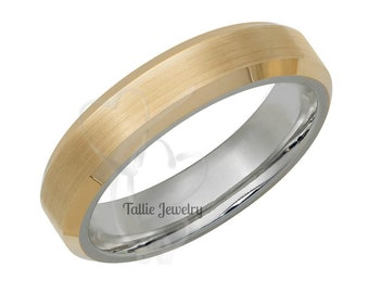 Two Tone Gold Wedding Bands, 4.5mm 10K 14K 18K Solid White and Yellow Gold Mens Womens Wedding Rings, Beveled Edge Satin Finish Wedding Band