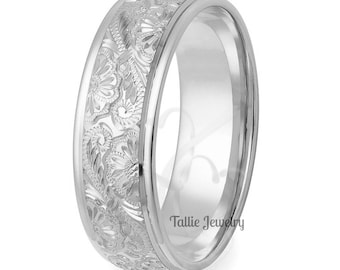 Hand Engraved Platinum Wedding Bands, Hand Engraved Platinum Wedding Rings, Platinum Mens Wedding Band, Platinum Mens Wedding Ring