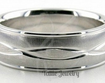 950 Platinum Mens Wedding Bands , Platinum Mens Wedding Rings,  7mm Brushed Finish Platinum Wedding Band