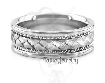 Platinum Braided Mens Wedding Bands,  Platinum Mens Wedding Rings
