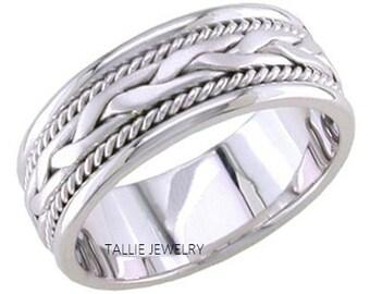 Platinum Rope Braided Mens Wedding Rings, Platinum Mens Wedding Bands