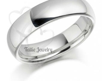 6mm 14K Solid White Gold Mens Wedding Ring , Shiny Finish Mens Wedding Band,  Plain Wedding Ring