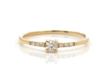 14K Gold Diamond Ring, Diamond Eternity Wedding Band,  Minimalist Diamond Ring , Diamond Engagement Ring, Promise Ring , Anniversary Ring