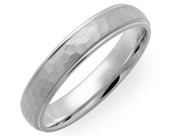 Custom Made for Cindy  Hammered Finish Mens Wedding Band 4mm