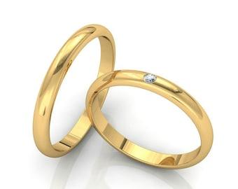 3mm 10K 14K 18K Solid Yellow Gold Wedding Bands, Mens Womens Diamond Wedding Rings Set, His & Hers Wedding Bands, Plain Dome Wedding Rings