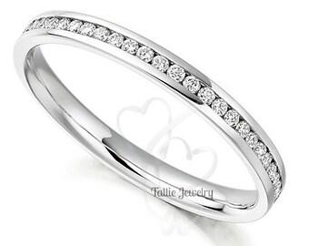 Diamond Eternity Band, Diamond Eternity Ring, Diamond Eternity Wedding Band, Thin Diamond Wedding Ring, 14K Gold Womens Diamond Wedding Band