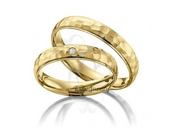 His & Hers Wedding Rings, 10K 14K 18K Yellow Gold Hammered Finish Wedding Bands, Matching Wedding Rings Set, His and Hers Wedding Bands