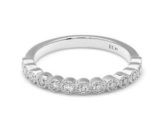 Womens Diamond Ring / Diamond Eternity Wedding Band / Half Eternity Diamond Eternity Ring / 14K Gold Bezel Set Stacking Diamond Bands