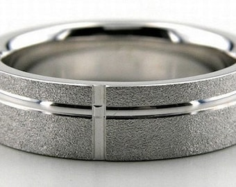 Custom Made for Jackui ,6mm 14K Solid White Gold Mens Wedding Band with Green Tourmaline