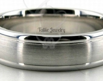 6mm 10K 14K 18K White Gold Mens Wedding Bands, Satin Finish Mens Wedding Rings, Matching Wedding Bands, His & Hers Wedding Rings