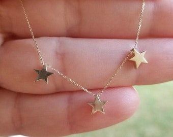 Star Necklace, 14K Solid Gold Three Star Necklace, Solid Yellow Gold Stars Necklace,Dainty 3 Star Necklace, Minimalist Star Necklace,3 Stars
