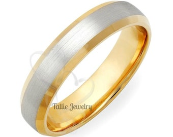 Platinum Wedding Ring, Platinum Wedding Band, Beveled Edge Platinum & 18K Solid Yellow Gold Mens Wedding Rings, Two Tone Gold Wedding Bands