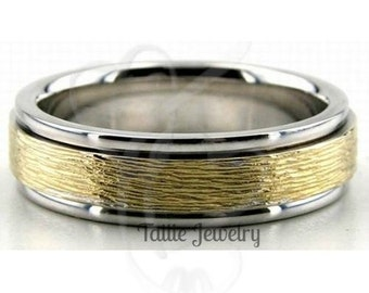 Two Tone Mens Wedding Ring, Mens Wedding Band, 6mm 10K 14K 18K Solid White and Yellow Gold Wedding Bands, Two Tone Rings, Two Tone Gold