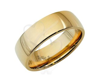6mm 10K 14K 18K Solid Yellow Gold Wedding Band, Plain Dome Mens Wedding Ring, Mens Wedding Band, His & Hers Wedding Rings, Gold Wedding Band