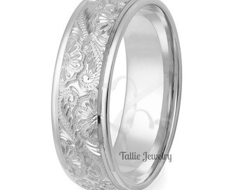 Hand Engraved Wedding Band, Hand Engraved Wedding Ring, 7mm  14K Solid White Gold Hand Engraved Mens Wedding Rings, His & Hers Wedding Bands