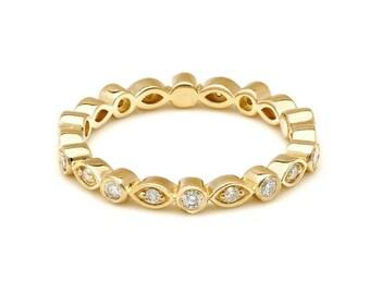 Diamond Eternity Ring / 14K Gold Diamond Wedding Bands /  Bezel Setting Eternity Band / Diamond Wedding Ring / Anniversary Wedding Band