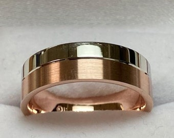 6mm 14K Solid White and Rose Gold Mens Wedding Band, Satin Finish Mens Wedding Ring, Two Tone Gold Wedding Band