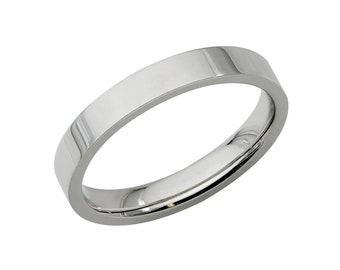 Platinum Wedding Band, 3mm Flat Platinum Wedding Ring, Platinum Mens Womens Wedding Bands, 950 Platinum