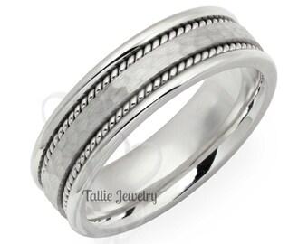 Platinum Braided Wedding Bands, Platinum Mens Wedding Ring, Platinum Mens Wedding Band