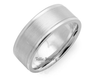 White Gold Mens Wedding Bands, Satin Finish Mens Wedding Rings, 8mm 10K 14K 18K Solid Gold Wedding Bands, His & Hers Wedding Rings