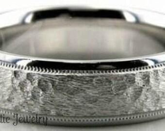 950 Platinum Band,  6mm Milgrain Hammered Finish Platinum Ring , Platinum Mens Wedding Bands, Platinum Mens Wedding Rings