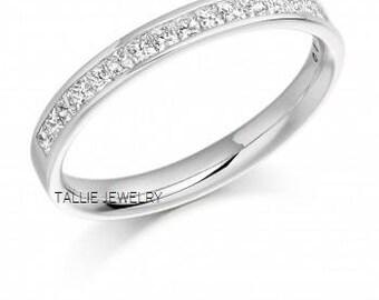 Platinum Princess Cut Diamond Eternity Wedding Rings,Platinum Anniversary Wedding Bands,Matching Wedding Rings,Platinum Womens Wedding Bands