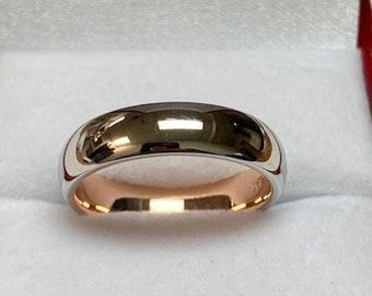 14K Solid Rose Gold and Platinum Wedding Band, Platinum Wedding Ring, 5mm Shiny Finish Platinum Mens Wedding Bands, 950 Platinum Ring