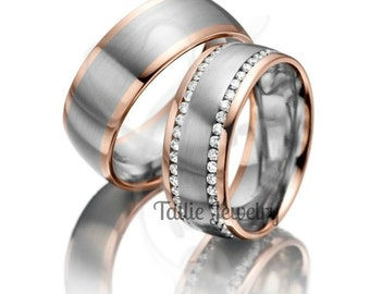 His & Hers Wedding Bands, 10K 14K 18K Solid White and Rose Gold Wedding Bands, Diamond Eternity Wedding Rings, Two Tone Gold Wedding Bands