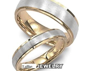 His & Hers Wedding Rings, Two Tone Gold Wedding Bands, Matching Wedding Rings, 10K 14K 18K White and Yellow Gold Mens Womens Wedding Bands