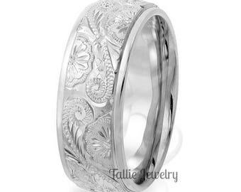 10K 14K 18K Solid Gold Wedding Ring for Men & Women, White Gold Mens Wedding Band, Hand Engraved Mens Wedding Ring, Engraved Rings